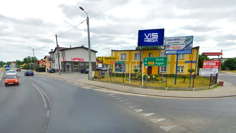 Telebim ulica Szosa Rypińska w Golubiu-Dobrzyniu, agencja reklamowa Vismedia