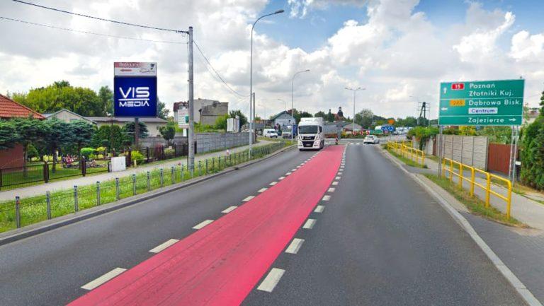 Telebim ulica Toruńska (trasa krajowa nr 15) w Gniewkowie, agencja reklamowa Vismedia